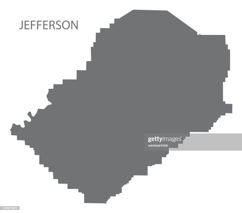 Jefferson county map of Alabama USA grey illustration silhouette
