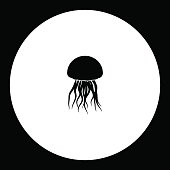 jellyfish from ocean simple silhouette black icon eps10