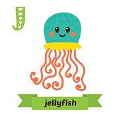 Jellyfish. J letter. Cute children animal alphabet in vector