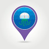 Jellyfish pin map icon. Summer. Vacation