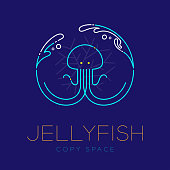 Jellyfish, Water splash, Coral symbol icon outline stroke set dash line design illustration isolated on dark blue background with Jellyfish text and copy space