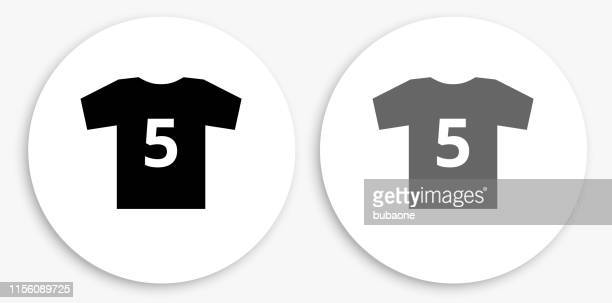 jersey black and white round icon - sports jersey stock illustrations