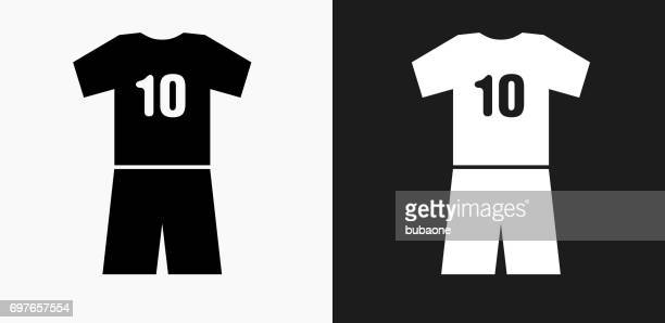 jersey icon on black and white vector backgrounds - football strip stock illustrations