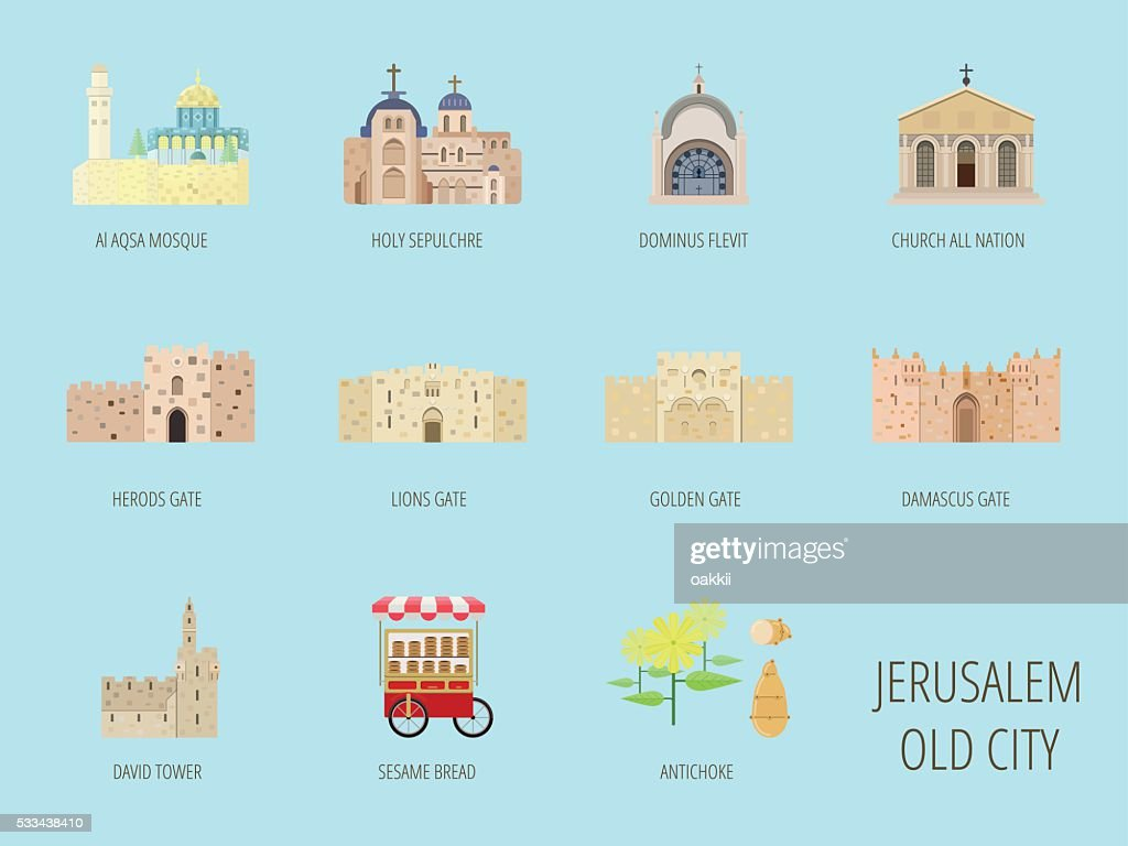 Jerusalem old city attraction.Al Aqsa Mosque, Lions gate, Sesame