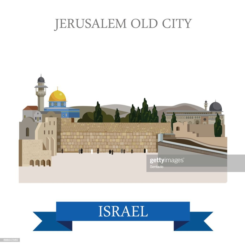 Jerusalem Old City in Israel. Flat cartoon style historic sight showplace attraction web site vector illustration. World countries cities vacation travel sightseeing Asia collection.