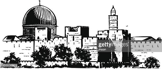 jerusalem wall - jerusalem stock illustrations, clip art, cartoons, & icons