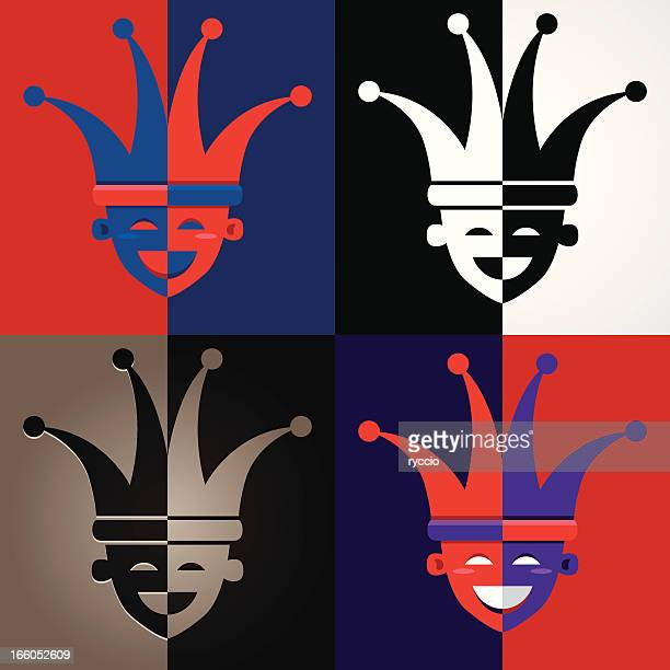 jester faces - jester's hat stock illustrations, clip art, cartoons, & icons