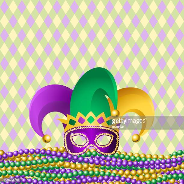 jester hat & beads - jester stock illustrations, clip art, cartoons, & icons