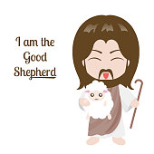 Jesus and sheep vector illustration