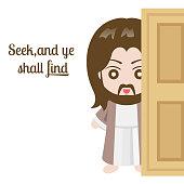 Jesus christ and door on white background, vector illustration