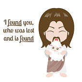 Jesus christ and sheep design over white background