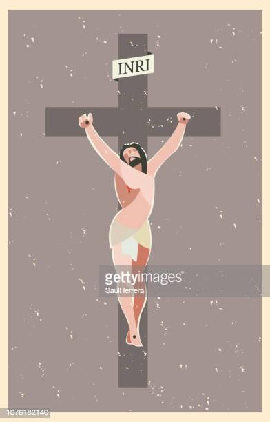jesus christ crucified / crucifix - christianity stock illustrations