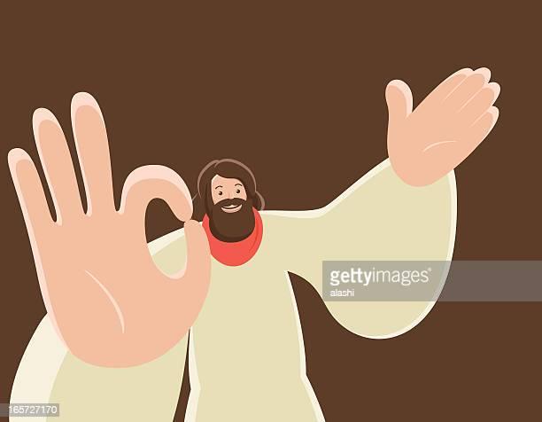 jesus christ gesturing ok hand sign - good friday stock illustrations