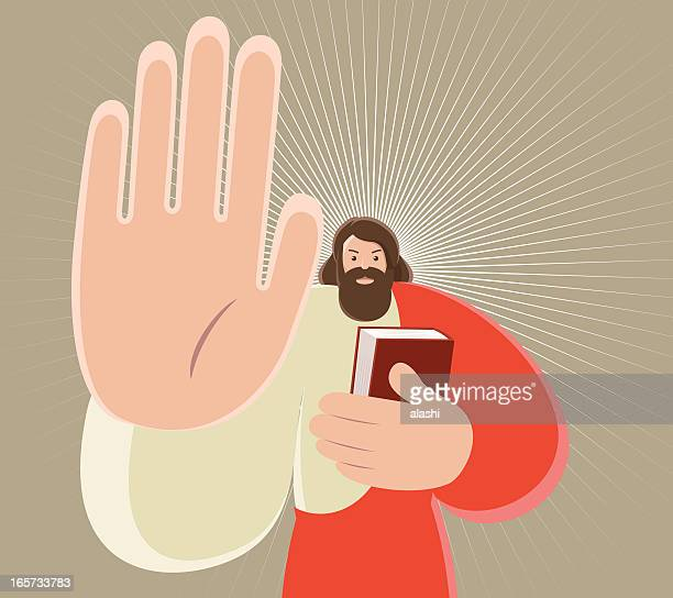 jesus christ holding bible and gesturing stop hand sign - refusing stock illustrations, clip art, cartoons, & icons