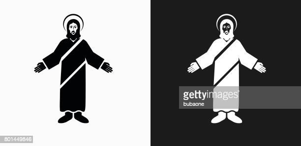 jesus christ icon on black and white vector backgrounds - jesus stock illustrations, clip art, cartoons, & icons
