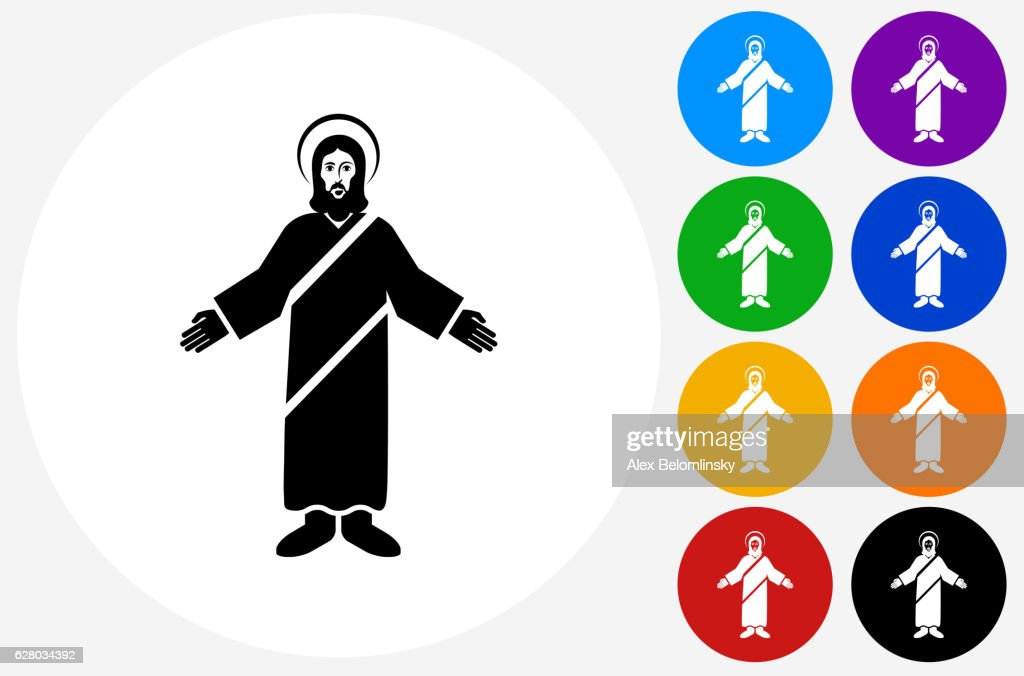 Jesus Christ Icon On Flat Color Circle Buttons Vector Art | Getty Images