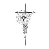 Jesus Christ on the cross with Rays of halo light and beams, symbol of saint. Crucifix drawing. Art tattoo reference template. Religion pride and glory. Good Friday Vector.