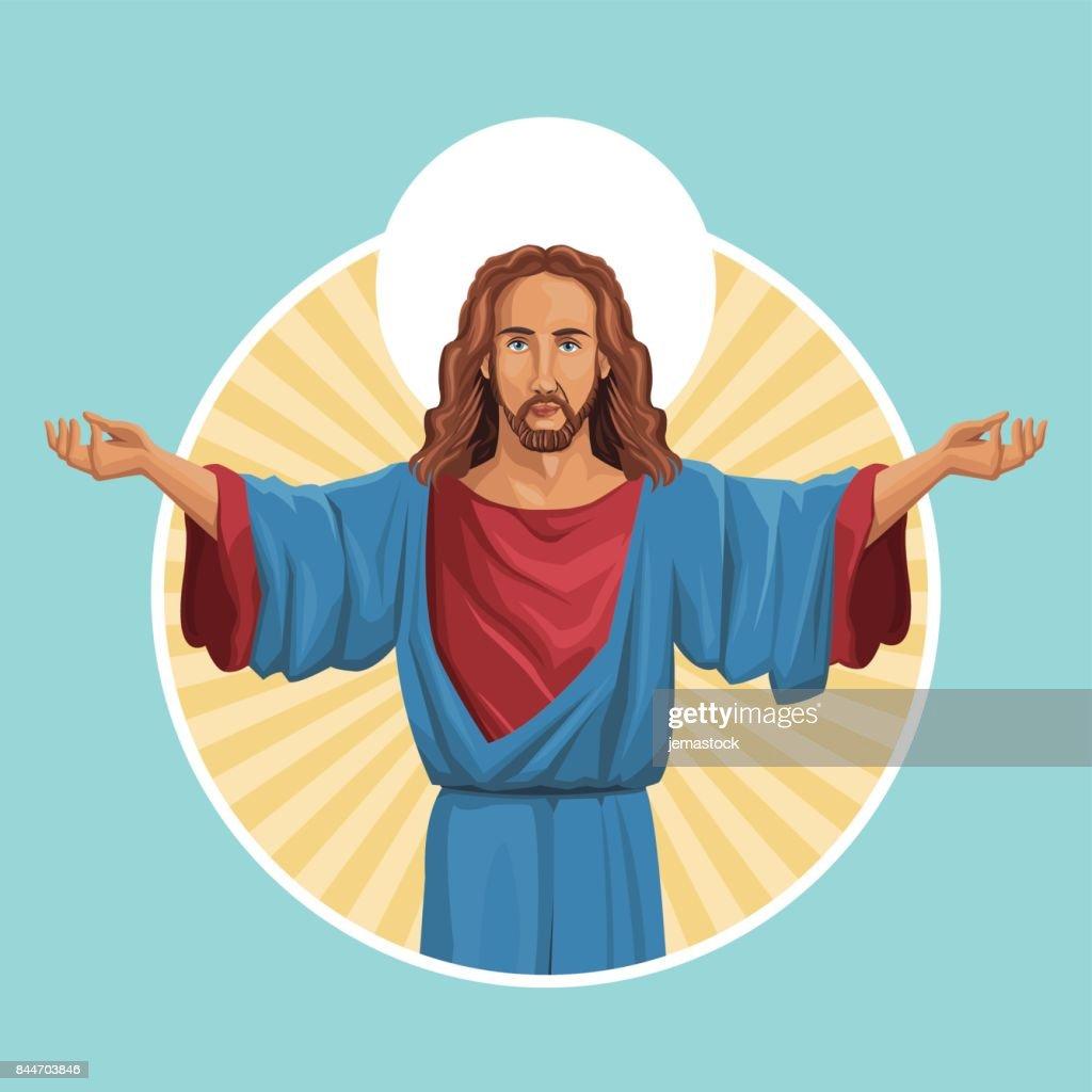 jesus christ religious image label