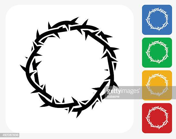 jesus christ thorn crown icon flat graphic design - jesus stock illustrations, clip art, cartoons, & icons