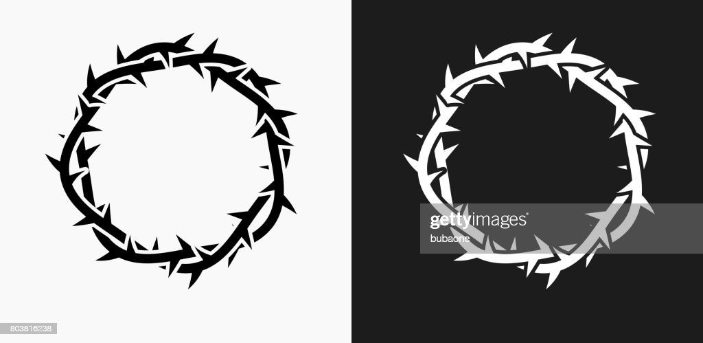 Jesus Christ Thorn Crown Icon on Black and White Vector Backgrounds