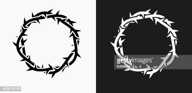 jesus christ thorn crown icon on black and white vector backgrounds - jesus stock illustrations, clip art, cartoons, & icons
