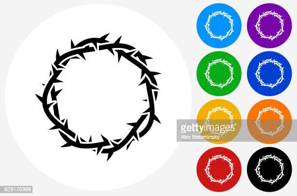 jesus christ thorn crown icon on flat color circle buttons - jesus stock illustrations, clip art, cartoons, & icons