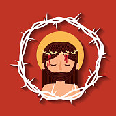 jesus christ with crown thorns sacred image