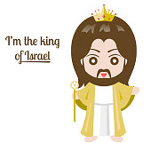 Jesus christ with king crown on white background, vector illustration