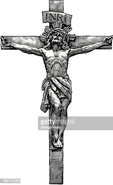 jesus crucifixion - jesus stock illustrations, clip art, cartoons, & icons