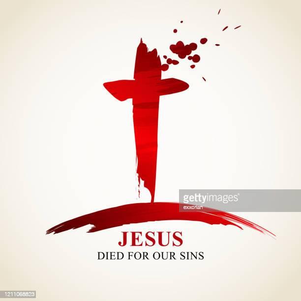 jesus starb für unsere sünden - jesus resurrection stock-grafiken, -clipart, -cartoons und -symbole