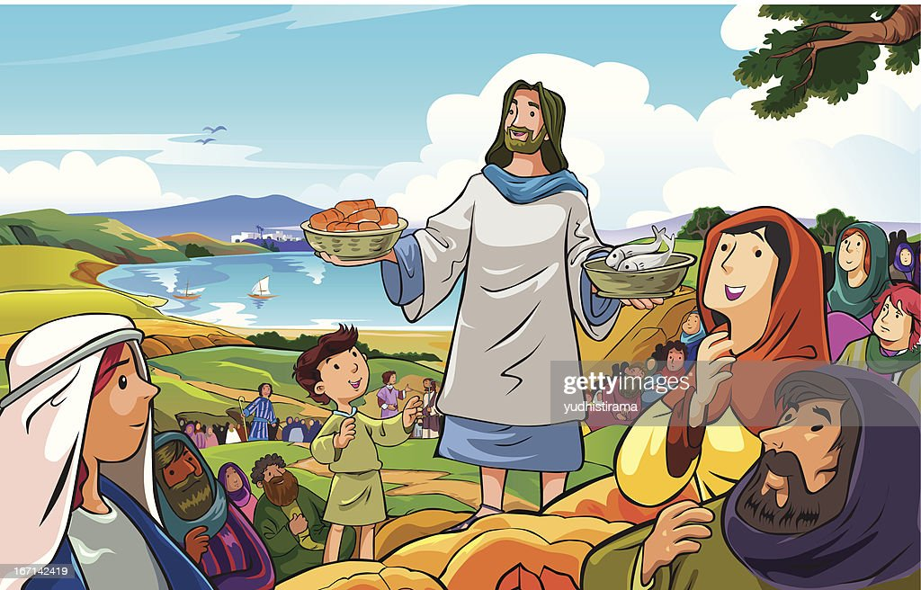 Jesus distributing loaves of bread and fish to the crowd
