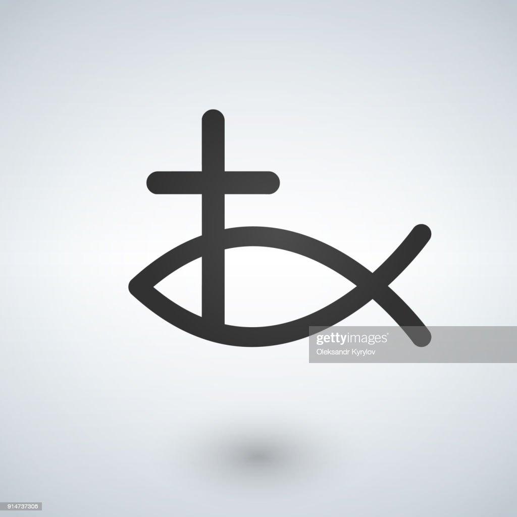 Jesus Fish and cross Icon . Vector illustration.