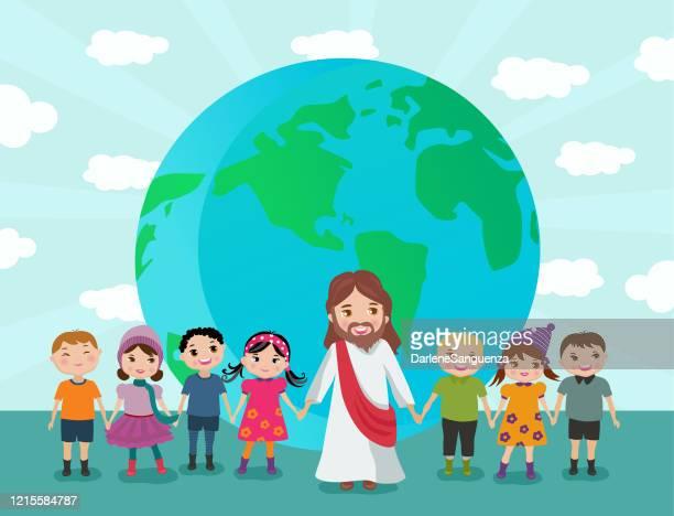 ilustraciones, imágenes clip art, dibujos animados e iconos de stock de jesús sosteniendo a los niños pequeños en todo el mundo. - corteza terrestre
