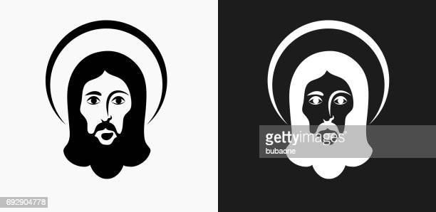 jesus icon on black and white vector backgrounds - jesus stock illustrations, clip art, cartoons, & icons