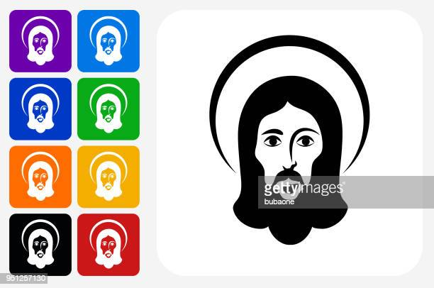 jesus icon square button set - jesus stock illustrations, clip art, cartoons, & icons