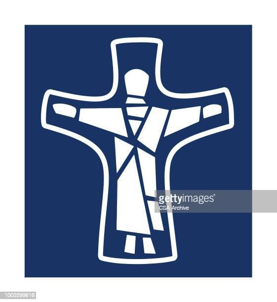 jesus in cross - resurrection religion stock illustrations, clip art, cartoons, & icons