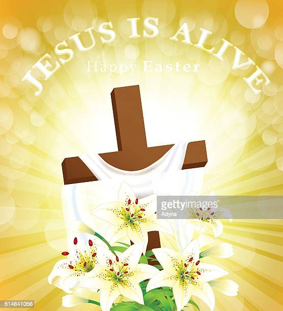 jesus is alive - resurrection religion stock illustrations, clip art, cartoons, & icons