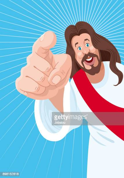 jesus is calling you - smiling jesus stock illustrations
