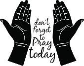 Jesus praying hands silhouette