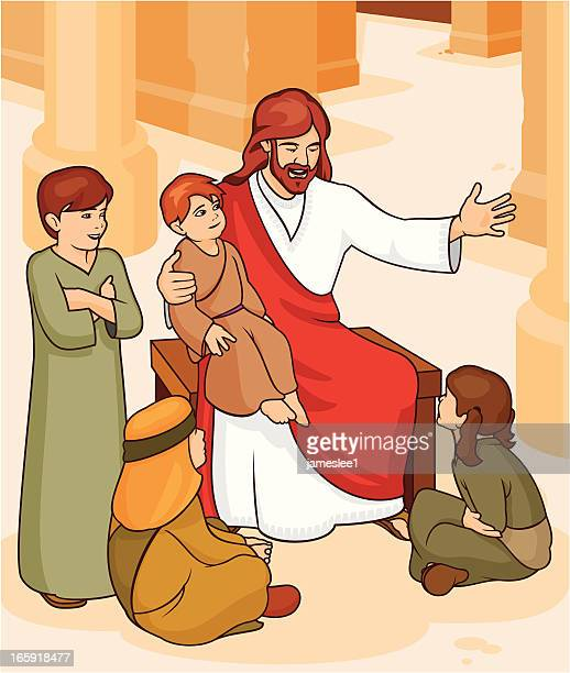 jesus said let the children come to me. - smiling jesus stock illustrations