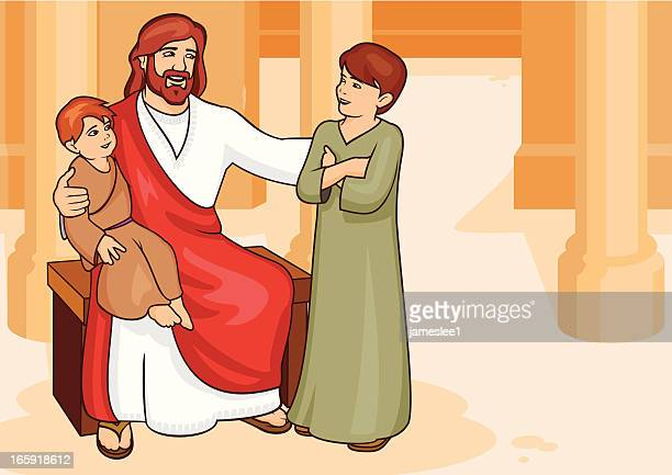 jesus teaches the children - jesus stock illustrations, clip art, cartoons, & icons