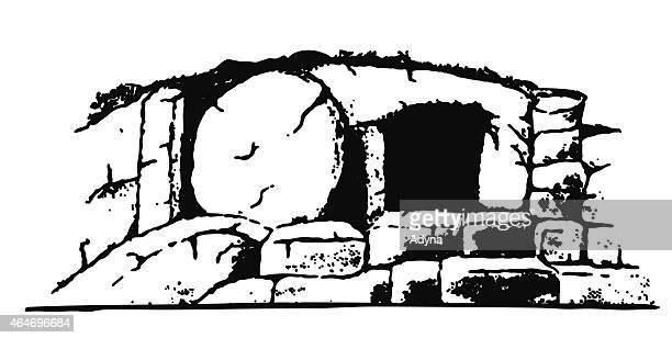 jesus tomb - empty tomb stock illustrations