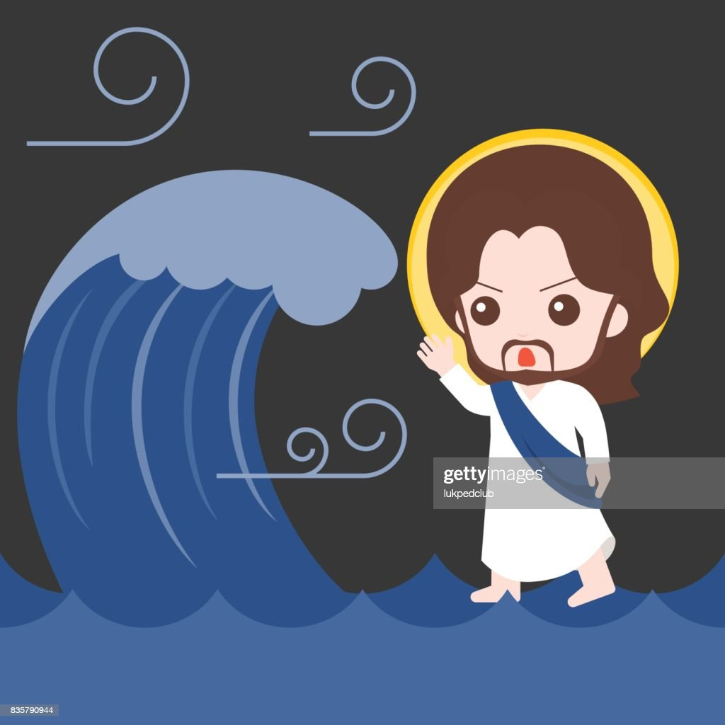 Jesus walking on sea and calm Down storm , bible story illustration, flat design