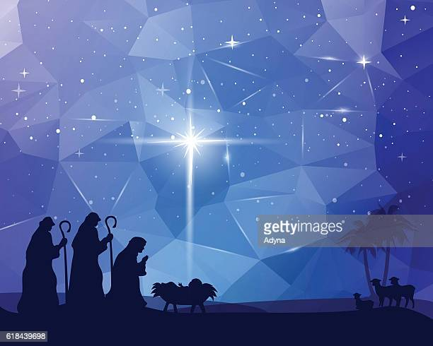 jesus was born - nativity scene stock illustrations