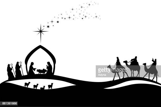jesus was born - three wise men stock illustrations, clip art, cartoons, & icons
