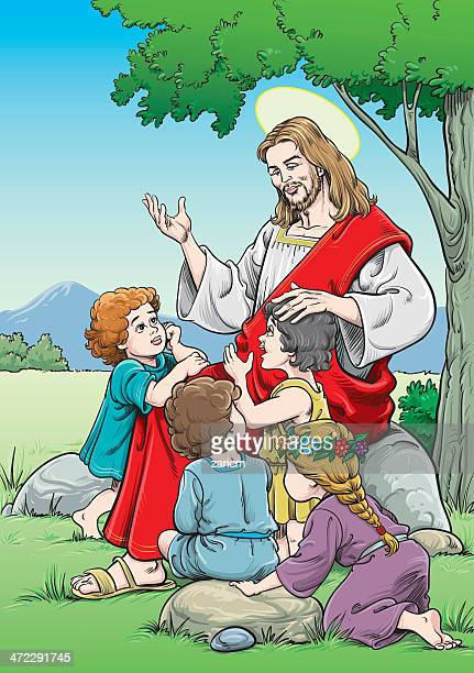 jesus with chidlren - jesus stock illustrations, clip art, cartoons, & icons