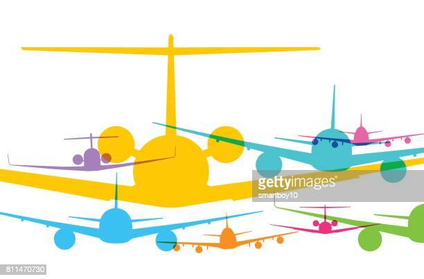 jet airplanes - business travel stock illustrations, clip art, cartoons, & icons