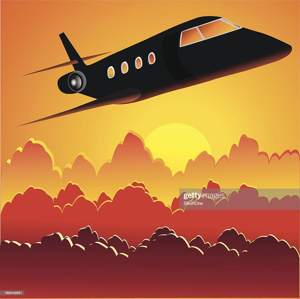 Jet im Sonnenuntergang : Stock-Illustration