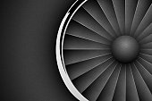 Jet Engine Turbine dark horizontal background. Detailed Airplane Motor with chrome metal ring Front View. Vector illustration aircraft turbo Fan of plane, machinery power