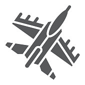 Jet fighter glyph icon, air and army, airplane sign, vector graphics, a solid pattern on a white background.